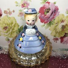 Vtg Py Spring Girl W/ Hand Muff In Blue Coat & Hat Shaker Easter Figurine Japan