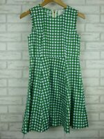 Five Paddington Fit & flare dress Sleeveless Green white blue print Exposed zip