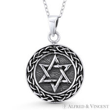 Star of David & Braided Bali-Knot Necklace Pendant Oxidized .925 Sterling Silver