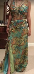 Tony Bowls Women Elegant Prom Dress  Size 12 Green Multi Color