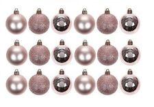 18x 5cm Rose Gold Plastic Christmas Tree Bauble Ornament Decoration Glitter Xmas
