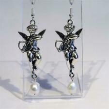 CG4806...SILVER PLATED CHERUB & FRESHWATER PEARL EARRINGS - FREE UK P&P
