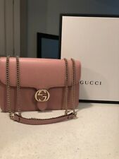 NWT Gucci 510303 Leather Interlocking GG Marmont Crossbody Purse Pink Auth