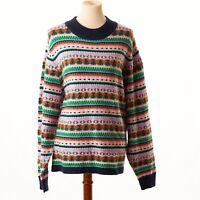 J. Crew Womens Plus Size Pink & Green Mock Neck Fair Isle Sweater Size 3X NWT
