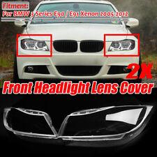 Pair Headlight Headlamp Lens Cover For BMW E90 E91 3 Series Xenon 2005-2011
