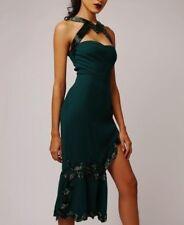 Virgos Lounge Green Arran High Neck Peplum Party Midi Wedding Dress 8 to 14