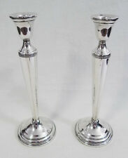 Sterling Silver Tapered Weighted Base Tall Candle Stick Holder Set 9.5""