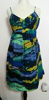 Calvin Klein Spaghetti Strap Multi Colored Lined Summer Knee-Length Dress Size 4