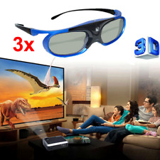 3X 96-144Hz Rechargeable 3D Active Shutter Glasses Universal For DLP Projector