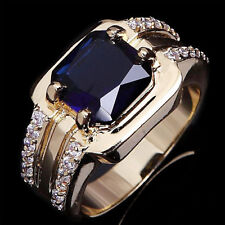 Size 7/8/9/10/11 Fashion Man Blue Sapphire Gold Plated Filled Wedding Ring  Neu