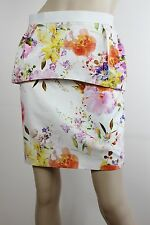 White Suede floral structured peplum pencil skirt - NWOT - 10