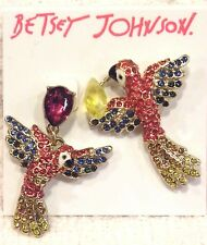 """BETSEY JOHNSON EARRINGS, """"TROPICAL PUNCH"""" FLYING PARROTS PAVE CRYSTALS NWT $45!"""