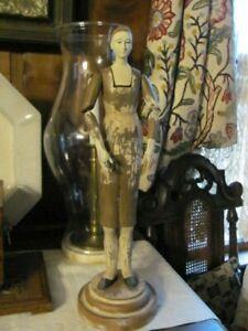 "Vintage Santos figure 17 1/2"" Primitive Hand Painted Style Women Resin Statue"