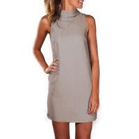 High Neck Womens Blouse Tops Summer Sleeveless Casual Mini Vest Shirt Dress 6-20