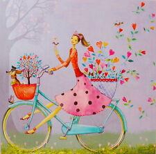 Mila Marquis*Postkarte 14x14 Glitzer*Frau auf einem Fahrrad*Grußkarte*Hund*Herz