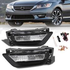 for 2013-2015 Honda Accord Sedan 4Dr Clear Bumper Fog Light Lamps+Bulbs w/Switch
