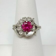 10k White Gold Synthetic Ruby & Imitation Diamond Ring 3.2g Size 6.25 *Bent