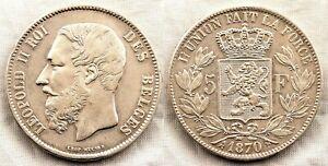 Belgica-Leopoldo II. 5 francos 1870. EBC-/EBC/XF-/XF Plata 25 g.
