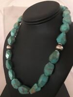 Chunky Native American Sterling Silver Faceted Turquoise Necklace Navajo Set