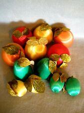 """VTG SATIN FRUITS -VELVET LEAVES~12~VARIOUS FRUIT~ORNAMENTS~1-1/2""""-3""""~VGC"""