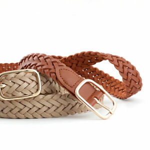 Wild New Handmade Braided Square Gold Metal Buckle Belt Women Casual Waistband