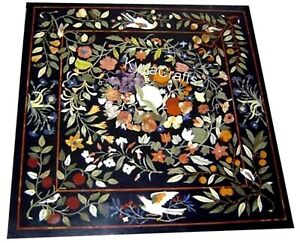 Black Marble Coffee Table Top Mosaic Art Conference Table for Home Decor 24 Inch