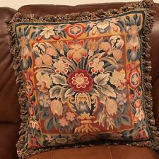 Beautiful Huge Needlepoint Pillow Velvet Back Floral Theme Great Trim