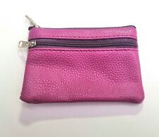 SOFT LIGHT BERRY PURPLE LEATHER LOOK SMALL COIN PURSE CARD POUCH ZIPS WALLET