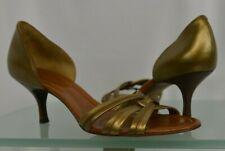 Cole Haan Sz 9.5 B Open Toe Heels Sandals Pumps Gold Brown Cross Straps Shiny