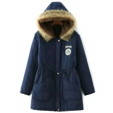 Womens Warm Long Outwear Fur Collar Hooded Quilted Jacket Slim Winter Parka Coat