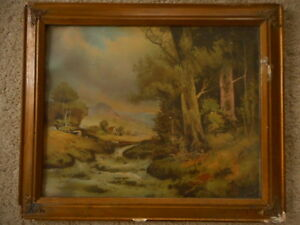 Print w antique frame Unknown Artist apx late 1800's early 1900's Vintage 23x19