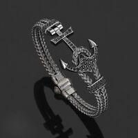 Luxury Men's Anil Arjandas Rhodium Plated Anchor Bangle Bracelet Stainless Steel