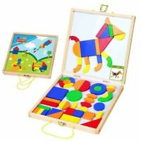 MAGNETIC Wooden SHAPES Activity Set in Carry Case PRESCHOOL EDUCATIONAL Toy