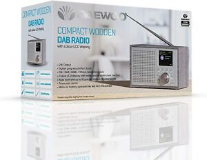 """Daewoo  Compact Wooden DAB & DAB FM Radio & Alarm With 2.4"""" Colour Screen SILVER"""