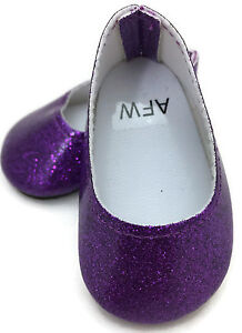 """Purple Glitter Slip On Dress Shoes made for 18"""" American Girl Doll Clothes"""