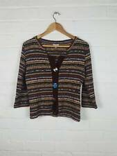 M&S Per Una Multi Colour Knitted Cardigan With Odd Buttons Boho Hippy Size UK 12