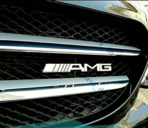 Metal AMG Front Grill Badge Emblem Chrome Silver for Mercedes Benz High Quality