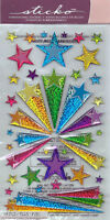 Stickers autocollants en relief 3D 3D brillants Sticko étoiles retro stars