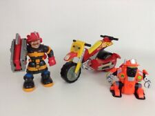 Fisher Price Rescue Heroes Toy Firefighter Action Figures w/ Tool & Vehicle