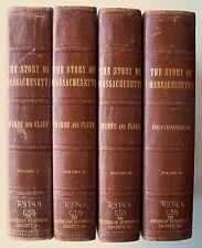 THE STORY OF MASSACHUSETTS Marsh & Clark 4 VOLUMES 1938 HC ILLUSTRATED T1