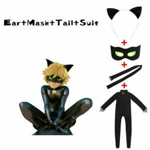 Kids Miraculous Ladybug Cosplay Costume Black Cat Noir Adrien Suit 100cm-150cm&-