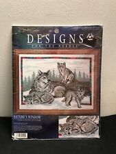 "NIP Wolf Family Nature's Window Designs For the Needle Cross Stitch 12"" x 16"""
