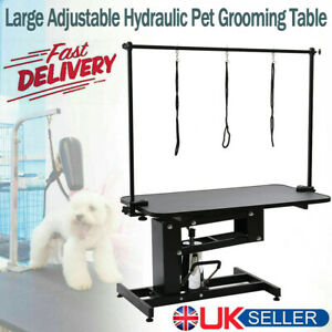 Large Hydraulic Pet Dog Grooming Table with H Bar Arm 3 Leash Heavy Duty Black