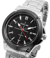 Herren Armbanduhr Schwarz/Silber Datum Metallarmband von Excellanc 2800004