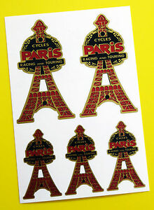 PARIS CYCLES 'Eiffel Tower' Head Badge Vintage style GOLD Decals Stickers