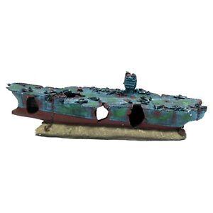 XL Aquarium Ornament Aircraft Carrier Shipwreck Battle Ship Fish Tank Cave Hide