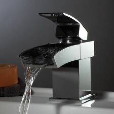 MILLY WATERFALL BASIN SINK TAP SQUARE MIXER CHROME MONO BLOC BATHROOM CLOAKROOM