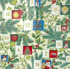 2 Serviettes en papier Calendrier Avent Noël Paper Napkins Advent Calendar