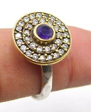 4.30 Gm 925 Solid Sterling Silver Amethyst Cut Stone Two Tone Ring 8.7 US M-1151