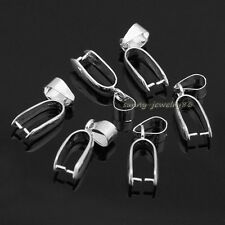 30pcs Silver Plated Large big Pendant Pinch Bails Connector Clasps 24x7mm